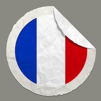 Symbole du drapeau de la france sur une étiquette en papier