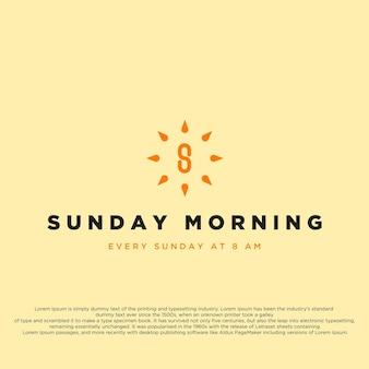 Symbole du logo créatif du dimanche matin lettre s ou numéro 8 au milieu du soleil