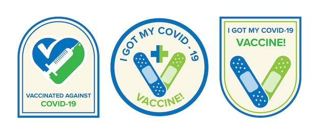 Symbole du logo avec texte j'ai reçu mon vaccin covid-19 pour les personnes vaccinées. autocollant de campagne de vaccination contre le coronavirus. concepts médicaux et de santé