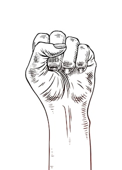 Symbole du mouvement féministe. main de femme avec un poing levé