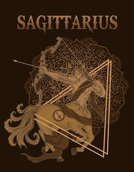 Symbole du sagittaire cavalier illustration avec mandala