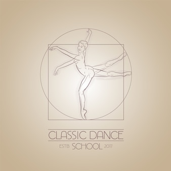 Symbole du studio de danse. illustration de style da vinci pour les cours de danse