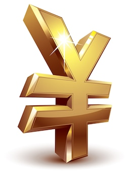 Symbole du yen doré brillant. organisé par couches. couleurs globales. gradients utilisés.