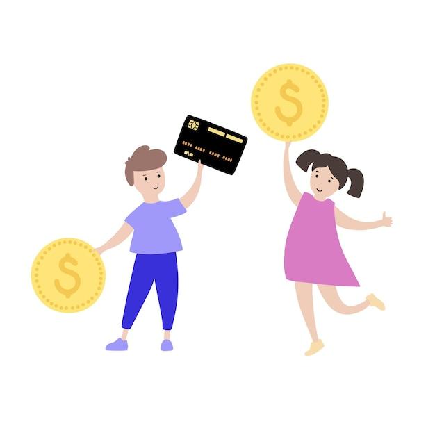Symbole de l'éducation financière de l'enfant. investissement, banque de planification budgétaire et symbole de pièce de monnaie.