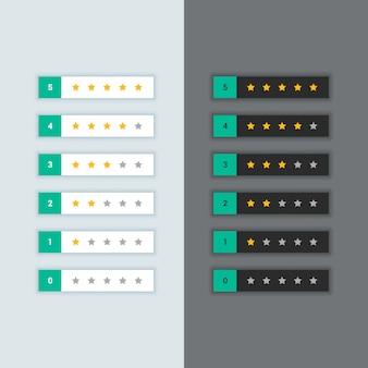 Symbole d'évaluation des étoiles du client dans le thème sombre et lumineux