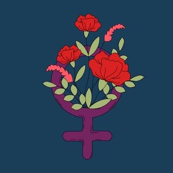 Symbole de la femme avec le vecteur de fleurs et feuilles
