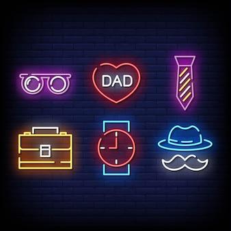 Symbole de la fête des pères style d'enseignes au néon