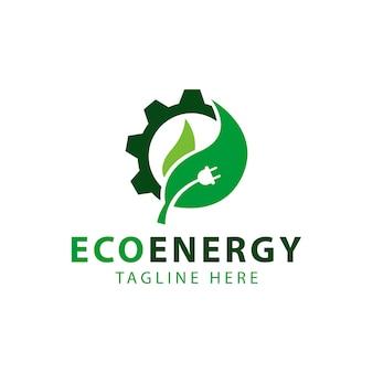 Symbole de feuille et de roue dentée, vecteur de conception de modèle de logo eco énergie
