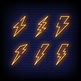 Symbole flash enseignes au néon style texte