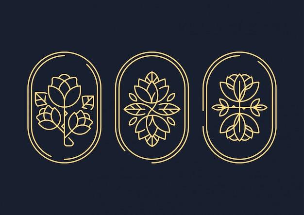 Symbole de fleur art abstrait lignes décoratives