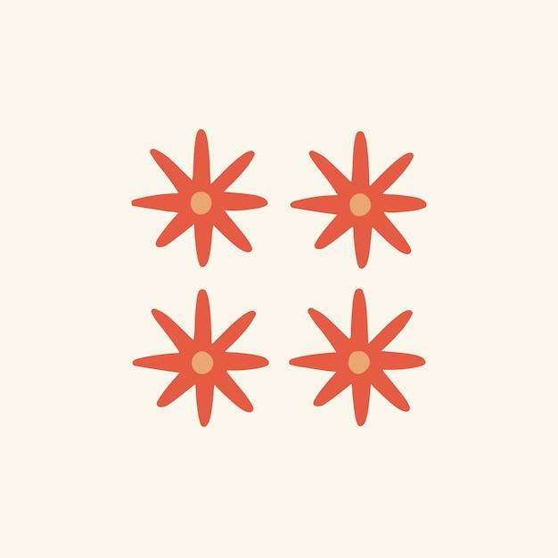 Symbole fleur rouge tropicale post médias sociaux illustration vectorielle floral