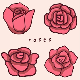 Symbole fleurs roses médias sociaux post illustration vectorielle