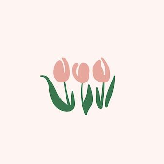 Symbole fleurs tulipe rose sur les médias sociaux post illustration vectorielle floral