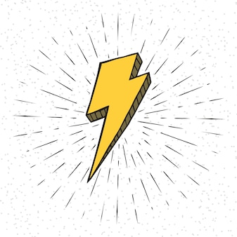Symbole de la foudre vintage avec sunburst en fond grunge