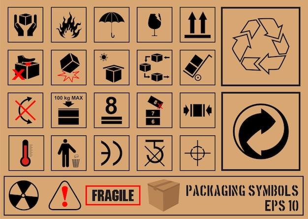 Symbole fragile noir sur carton