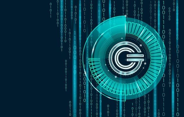 Symbole géométrique incandescent des pièces de monnaie gcc de la crypto-monnaie mondiale