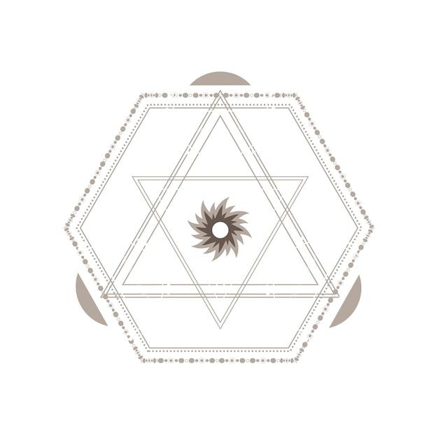 Symbole géométrique sacré isolé sur fond blanc