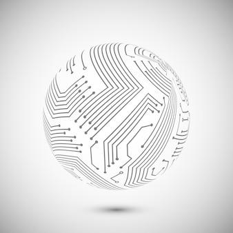 Symbole globe de circuit imprimé