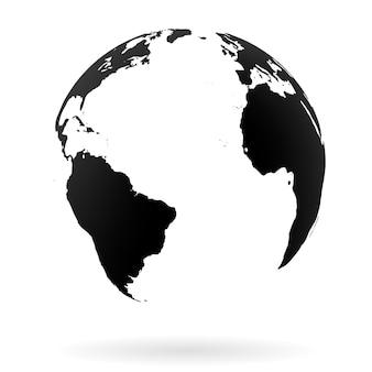 Symbole de globe terrestre très détaillé, pays arabes, chine, inde. noir sur fond blanc.