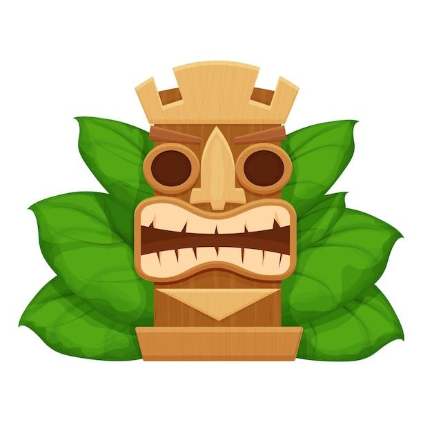 Symbole hawaïen de masque tiki en bois en style cartoon texturé et détaillé