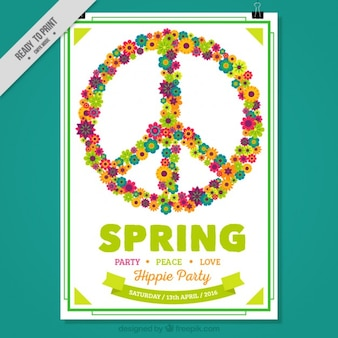 Symbole hippy composé de fleurs affiche de fête de printemps