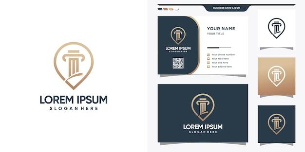 Symbole d'idée de pilier du logo de loi. modèle de logo et conception de carte de visite