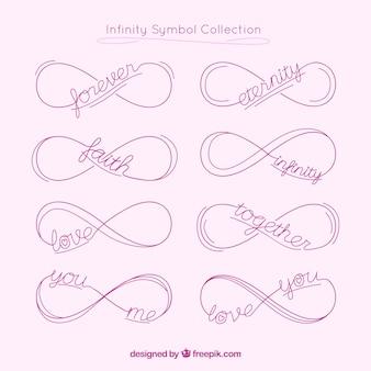 Symbole de l'infini avec la collection de mots