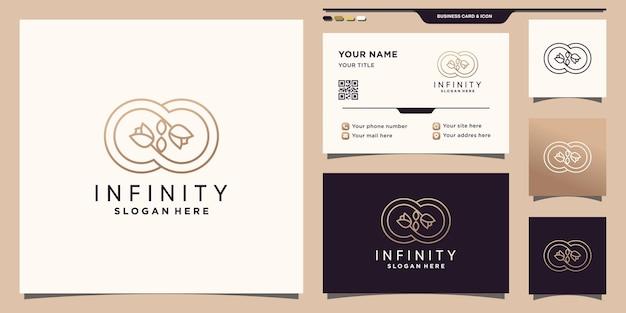 Symbole de l'infini et logo de fleur rose avec un style de dessin au trait et un design de carte de visite vecteur premium