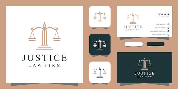 Symbole d'inspiration de conception de logo de justice juridique et carte de visite