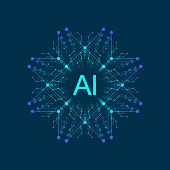 Symbole d'intelligence artificielle ai. deep learning et future technology concept design.