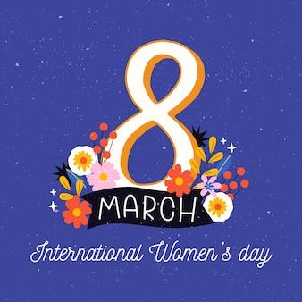 Symbole de la journée des femmes florales avec des fleurs