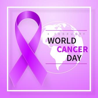 Symbole de la journée mondiale du cancer avec un ruban et un globe