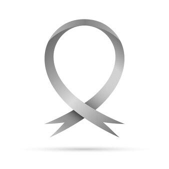 Symbole de la journée mondiale de la maladie de parkinson. ruban de conscience gris, isolé. symbole des troubles cérébraux