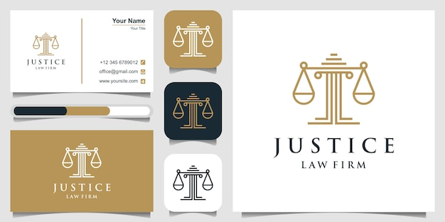 Symbole juridique de la justice. cabinets d'avocats, cabinet d'avocats, services d'avocat, modèle de conception de logo de luxe et carte de visite