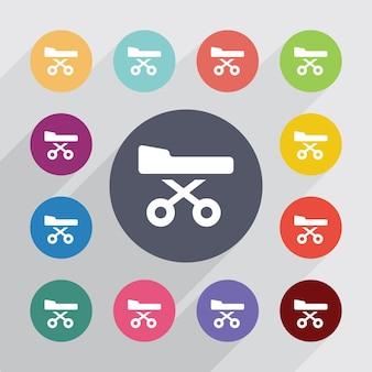 Symbole de lit médical, jeu d'icônes plat. boutons colorés ronds. vecteur