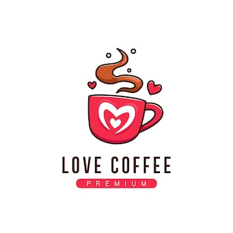 Symbole de logo d'amour de café en dessin animé de style amusant mignon