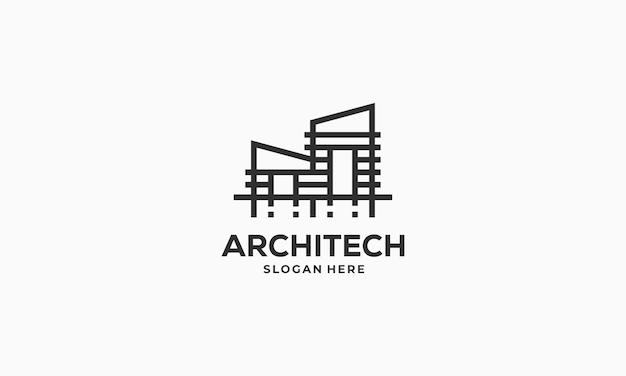 Symbole de logo de bâtiment de ville, illustration d'icône de vecteur de logo d'hypothèque de maison d'architecte de maison