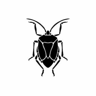 Symbole logo beetle conception pochoir illustration vectorielle tatouage