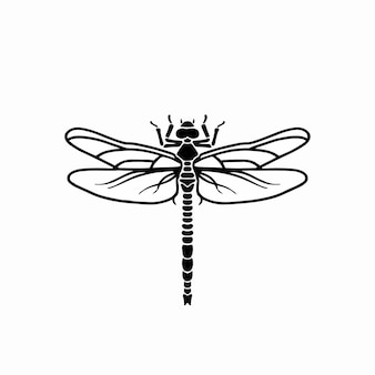 Symbole logo libellule conception pochoir tatouage illustration vectorielle