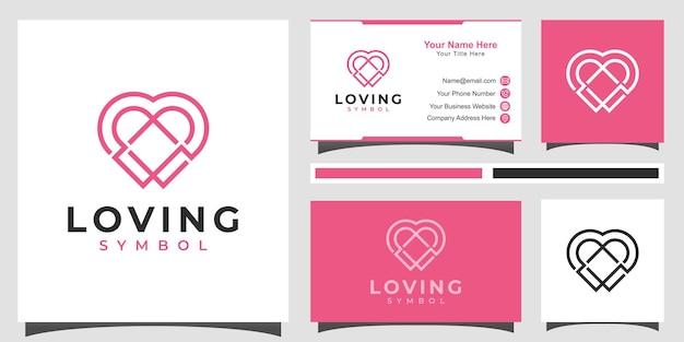 Symbole de logo de romance de ligne simple de soins de coeur affectueux avec la conception de carte de visite