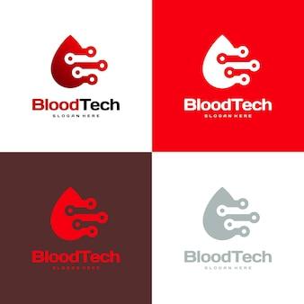 Symbole de logo de sang de pixel, modèle de conceptions de logo de soins de santé de sang, vecteur de concept de conceptions de logo de technologie de sang