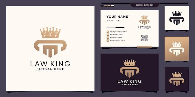 Symbole de la loi et logo de la couronne royale avec un concept moderne et un design de carte de visite vecteur premium