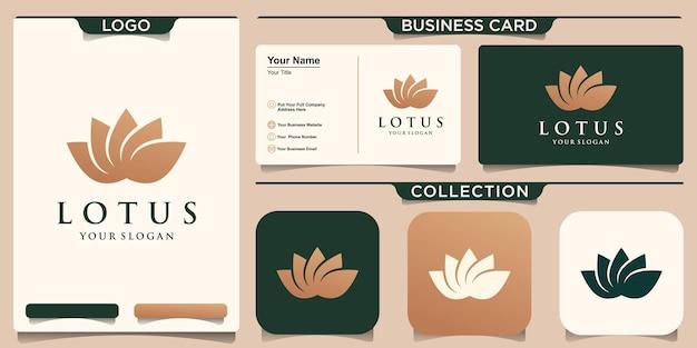 Symbole lotus flower logo concept doré et conception de carte de visite
