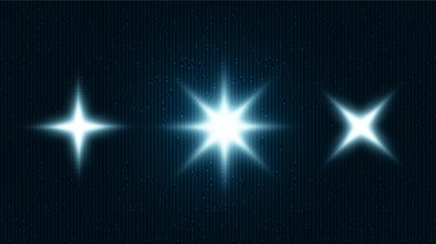 Symbole de lumière étoile numérique sur fond de technologie