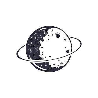 Symbole de lune dessiné main vintage.