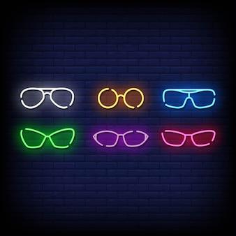 Symbole de lunettes style d'enseignes au néon
