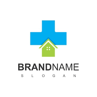 Symbole de la maison et de la croix pour le logo de l'hôpital