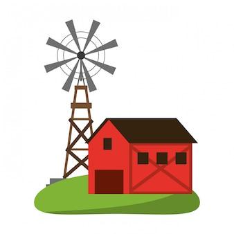 Symbole de maison de ferme et moulin