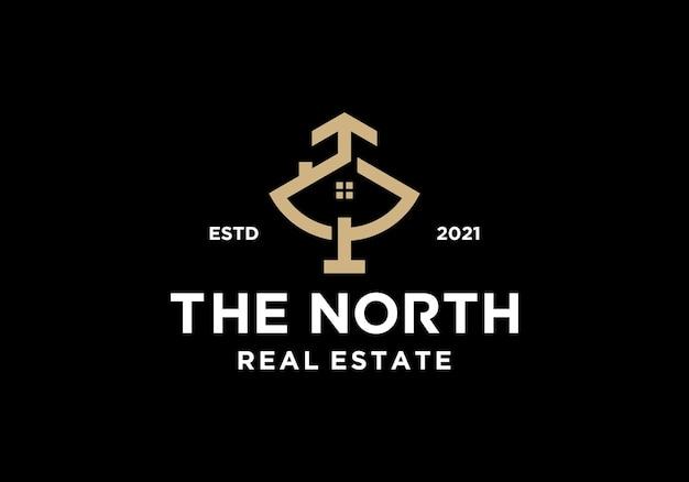 Symbole de la maison et de la flèche, l'inspiration de la conception du logo résidentiel de l'immobilier nord
