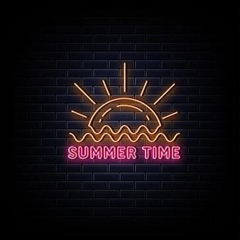 Symbole néon du logo néon de l'heure d'été